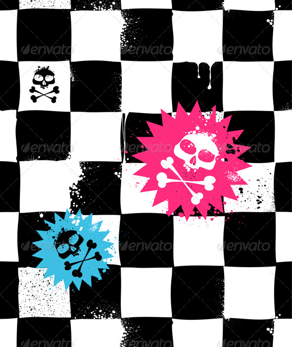 Modern Seamless Texture with Skulls - Patterns Decorative