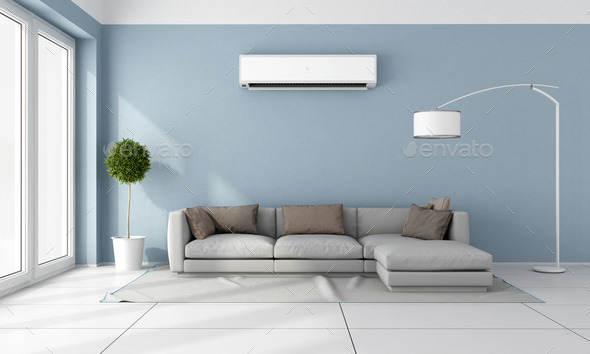 Living Room With Air Conditioner Stock, Air Conditioner For Living Room