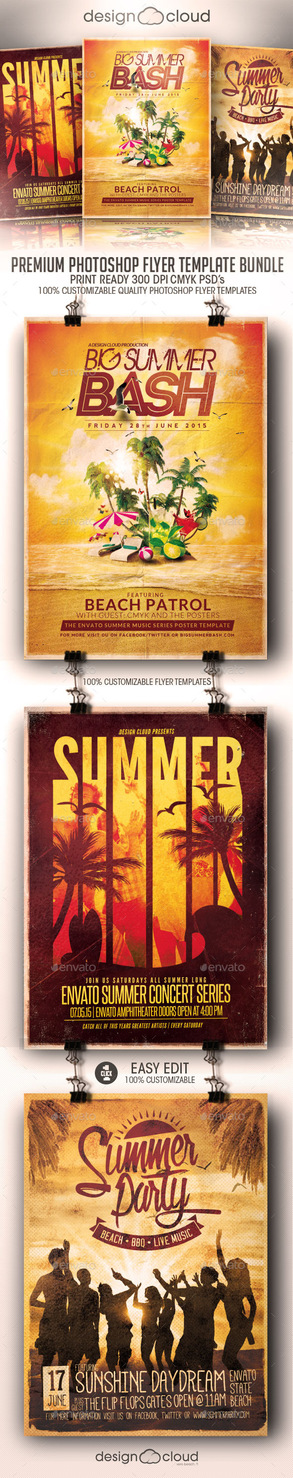 Super Summer Flyer Template Bundle Vol. 1 - Clubs & Parties Events