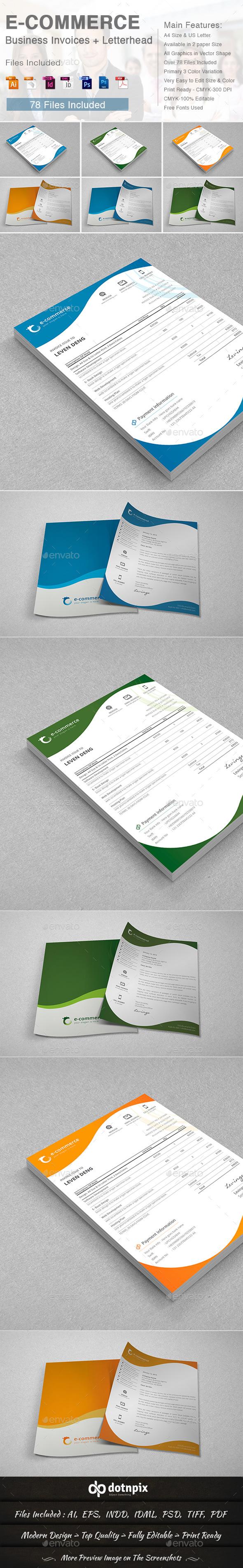 ECommerce Business Invoices  Letterhead By Dotnpix  Graphicriver