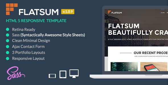 FlatSum – Minimal HTML5  Portfolio Template