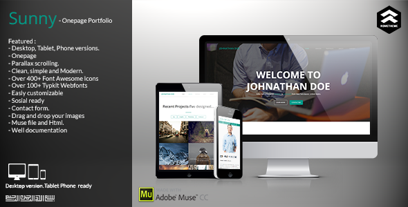 Sunny - Onepage Portfolio Muse Template - Personal Muse Templates