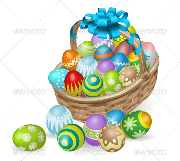Colourful painted Easter eggs basket - Miscellaneous Seasons/Holidays