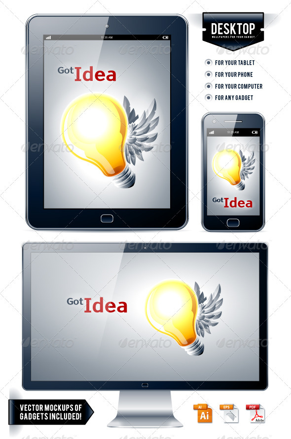 Vector background. Lamp with wings. - Vectors