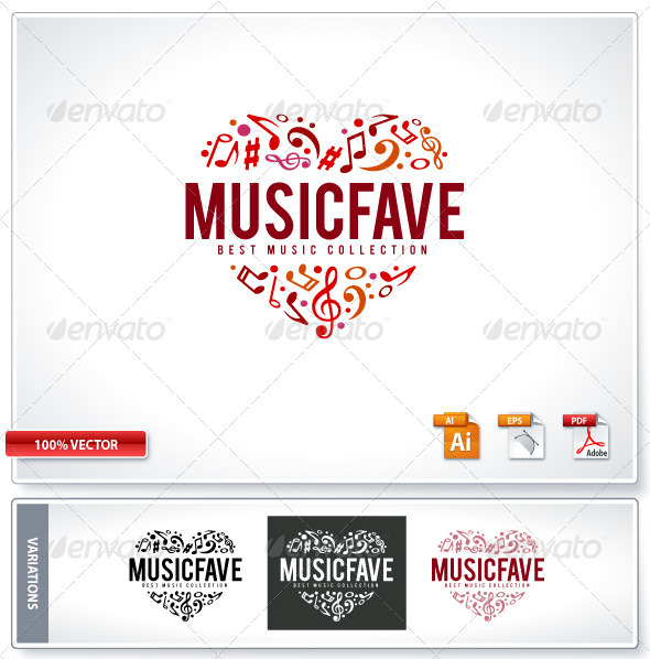 Music Fave Logo Template - Vector Abstract
