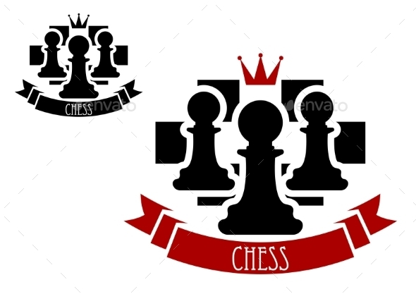 Chess Emblem With Pawns On Chessboard Background - Sports/Activity Conceptual