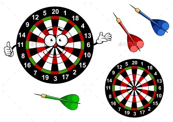 Cartoon dartboard target character with colorful by