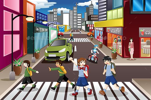 Kids Crossing the Street - People Characters