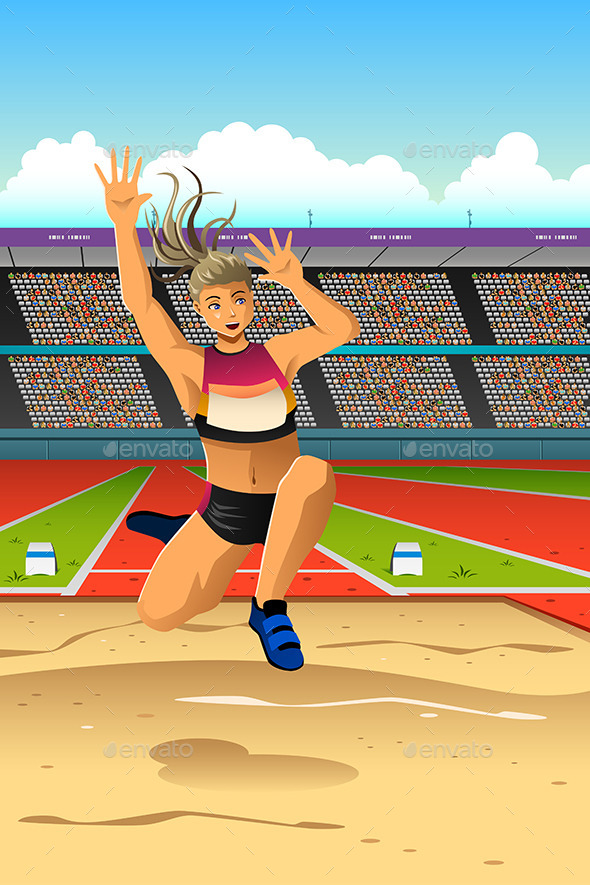 Female Athlete Makes Long Jump in Competition - Sports/Activity Conceptual