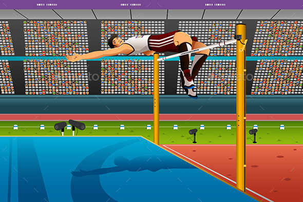Male High Jumper in Midair Over Bar - Sports/Activity Conceptual
