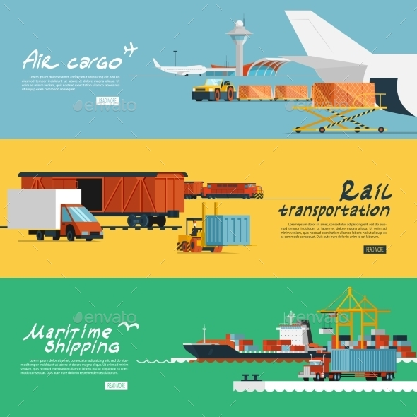 Logistics Flat Horizontal Banners Set by macrovector ...