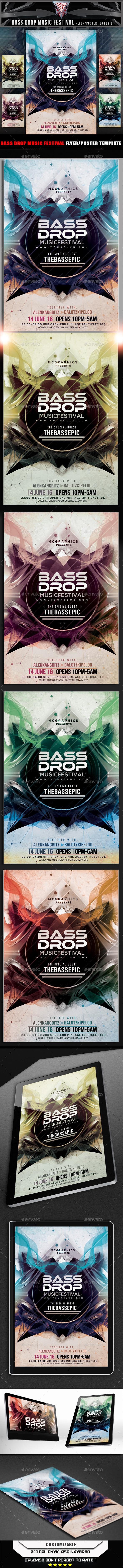 Bass Drop Music Festival Flyer Template - Flyers Print Templates