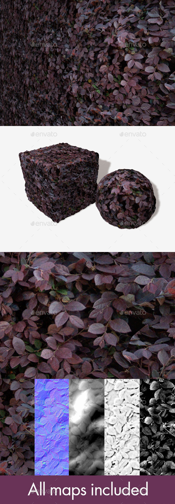 Purple Shrub Seamless Texture - 3DOcean Item for Sale