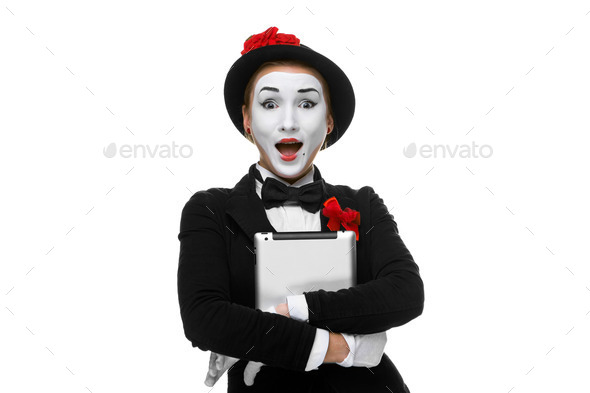 surprised mime isolated on white background - Stock Photo - Images