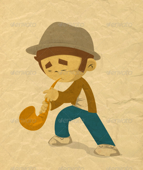 Playing Sax - Illustrations Graphics