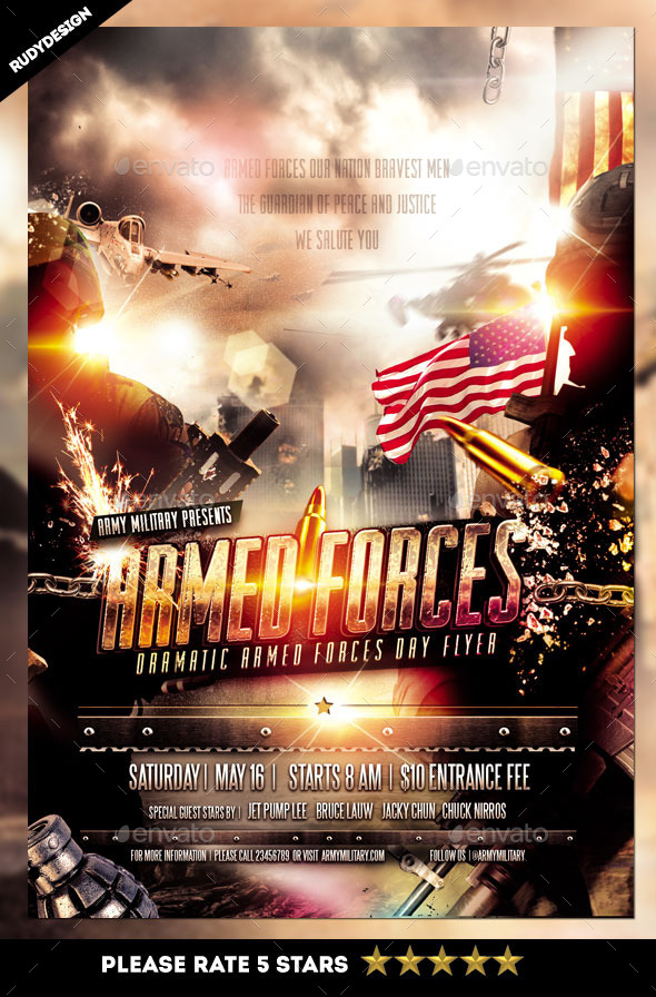armed forces day flyer template by rudydesign