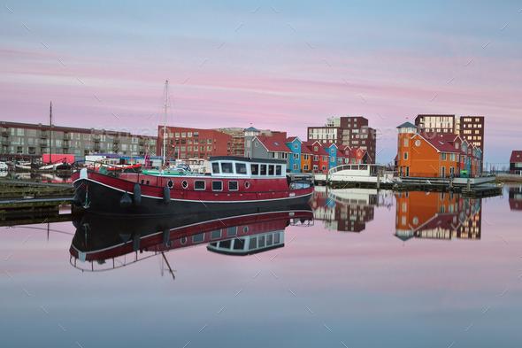 ship on Reitdiephaven harbor at sunrise - Stock Photo - Images