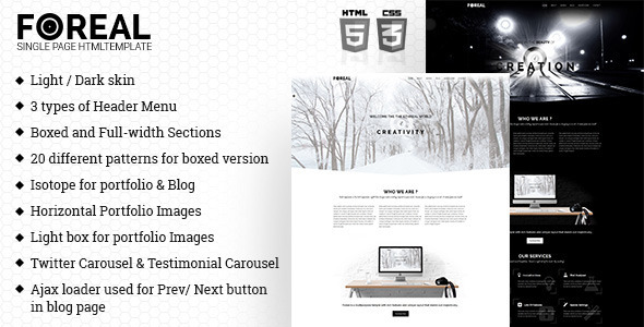 Foreal -  Minimal Business HTML5 Template - Creative Site Templates