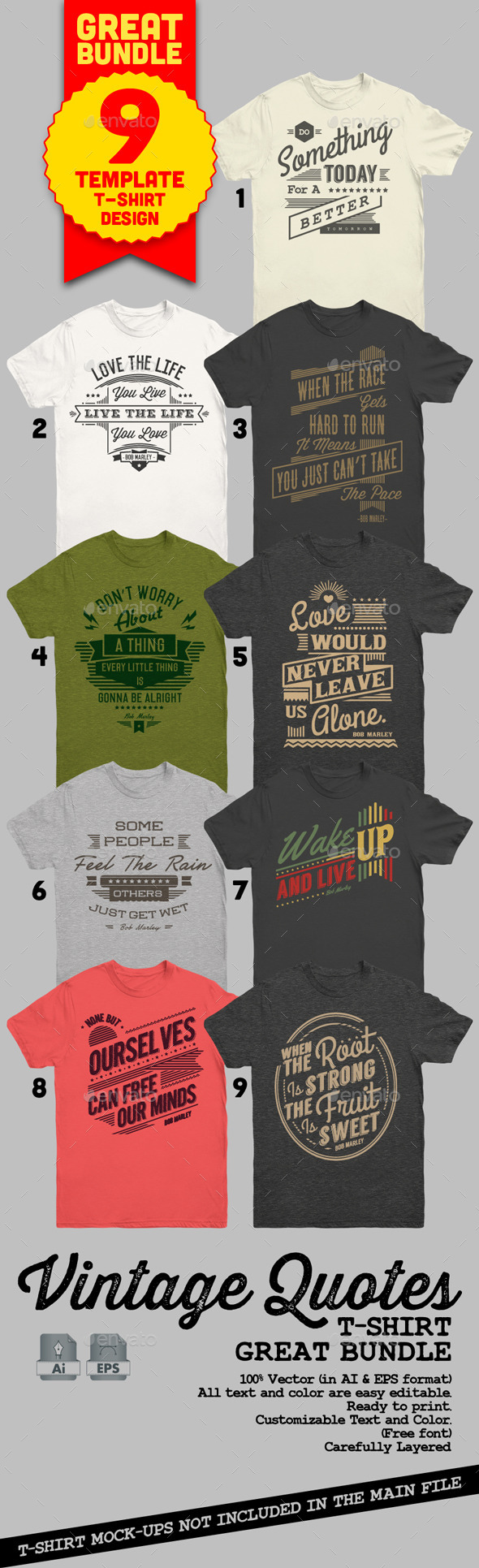 Vintage Quotes T-Shirt Bundle - T-Shirts
