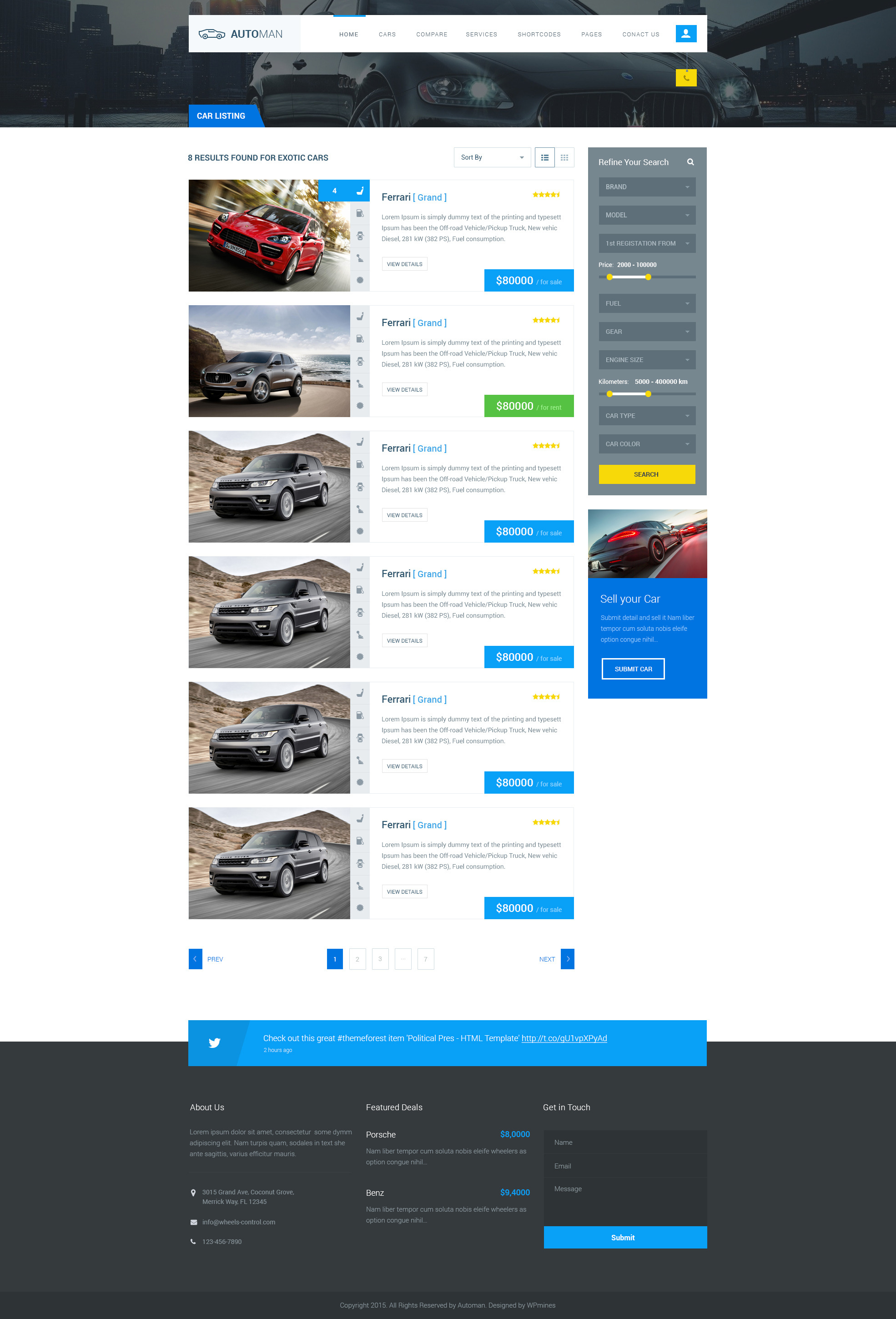 Automan advanced car dealer html template