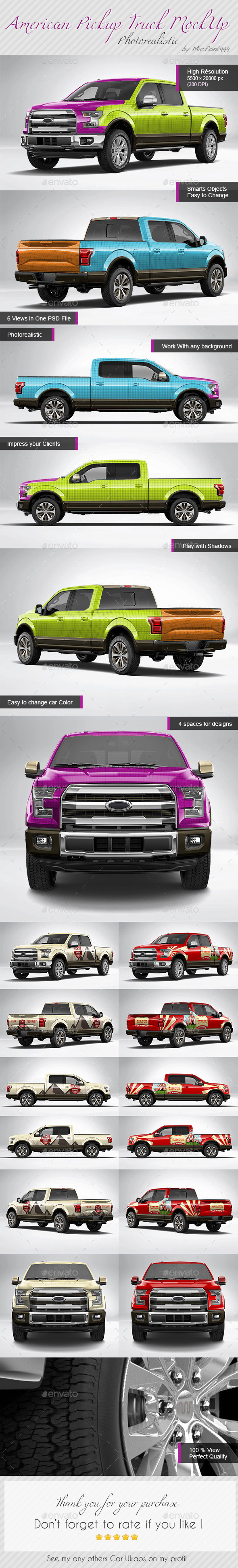Photorealistic American Pickup Truck Wrap Mock-up - Vehicle Wraps Print