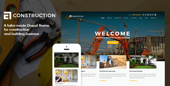 Construction - Construction, Building Business - Drupal CMS Themes