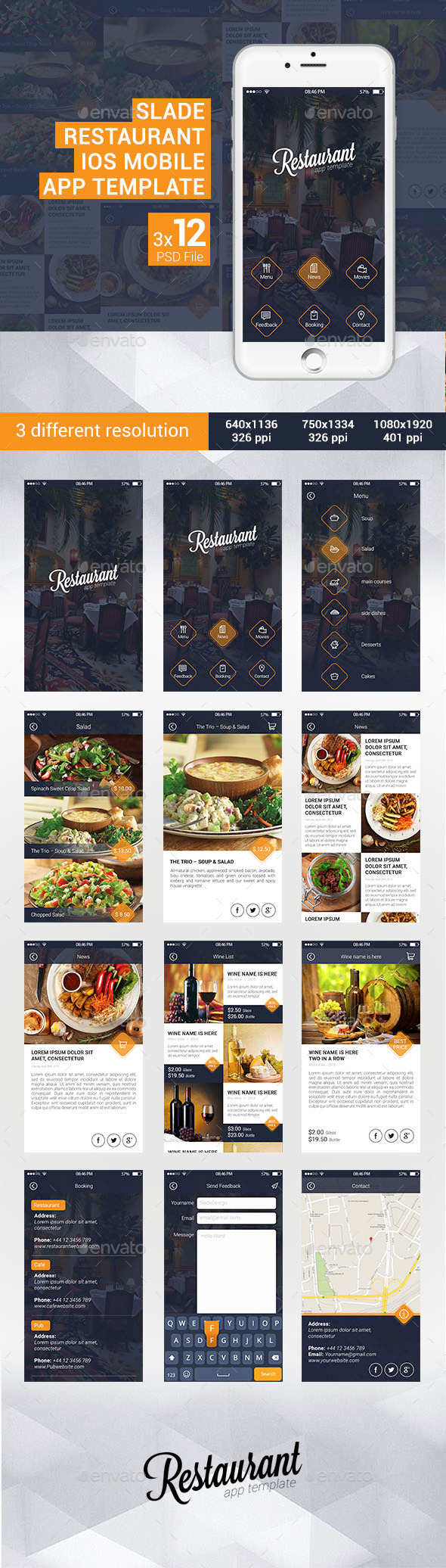 Slade Restaurant iOS Mobile App Template by SladeDesign | GraphicRiver