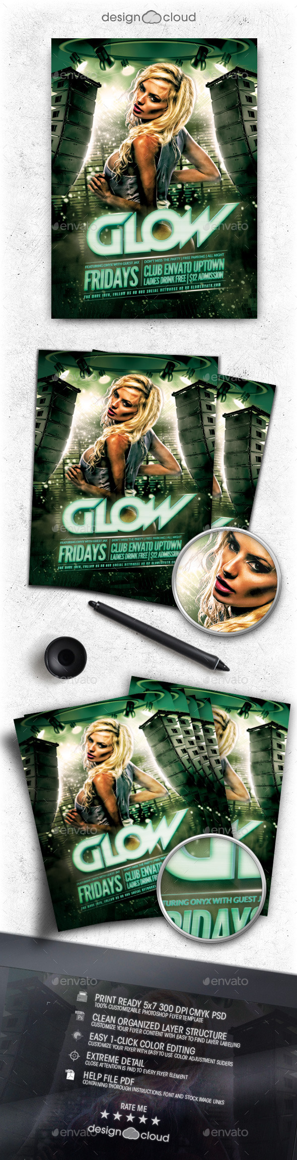 Glow Club Flyer Template - Clubs & Parties Events