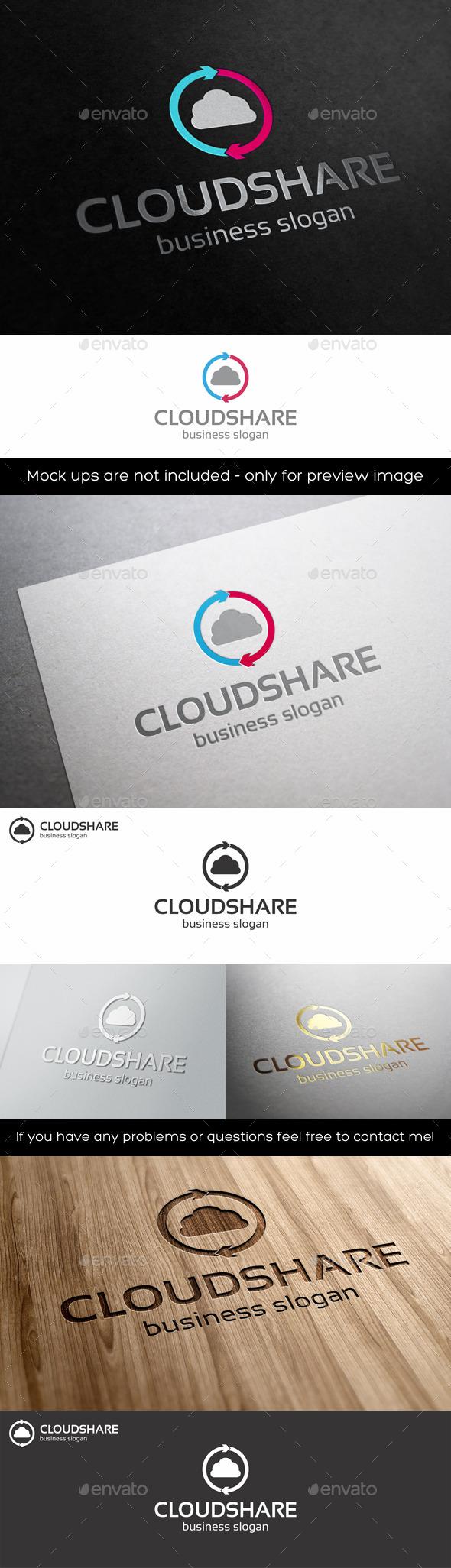 Cloud Share Logo Template - Symbols Logo Templates