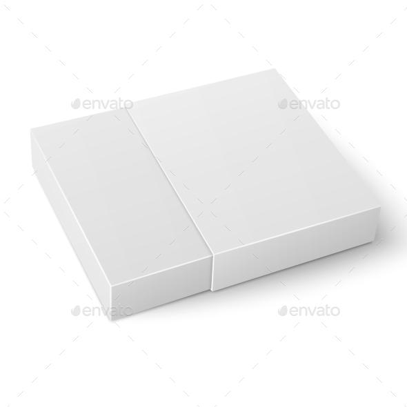 White Sliding Cardboard Box Template. by derzai | GraphicRiver