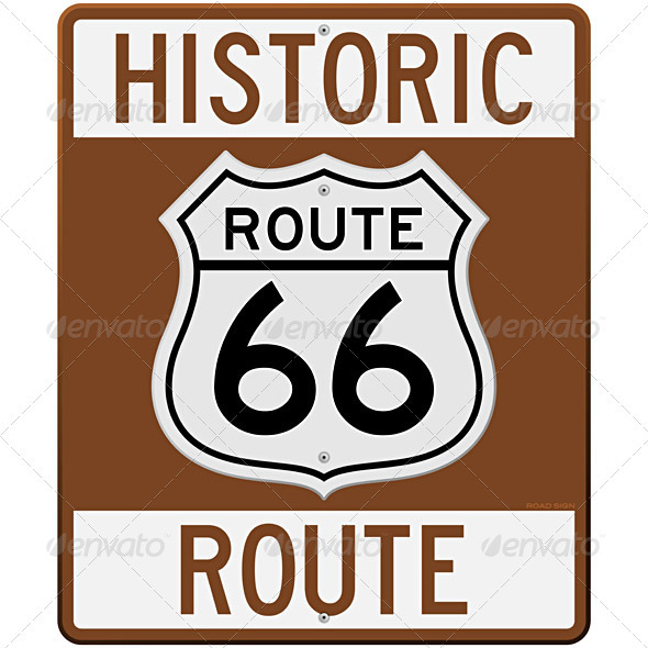 Historic Route 66 Sign - Travel Conceptual