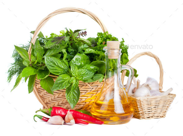Fresh Herbs with Olive Oil and Spices - Stock Photo - Images