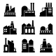 Factory And Power Industrial Building Icon Set