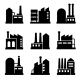 Factory And Power Industrial Building Icon Set 2