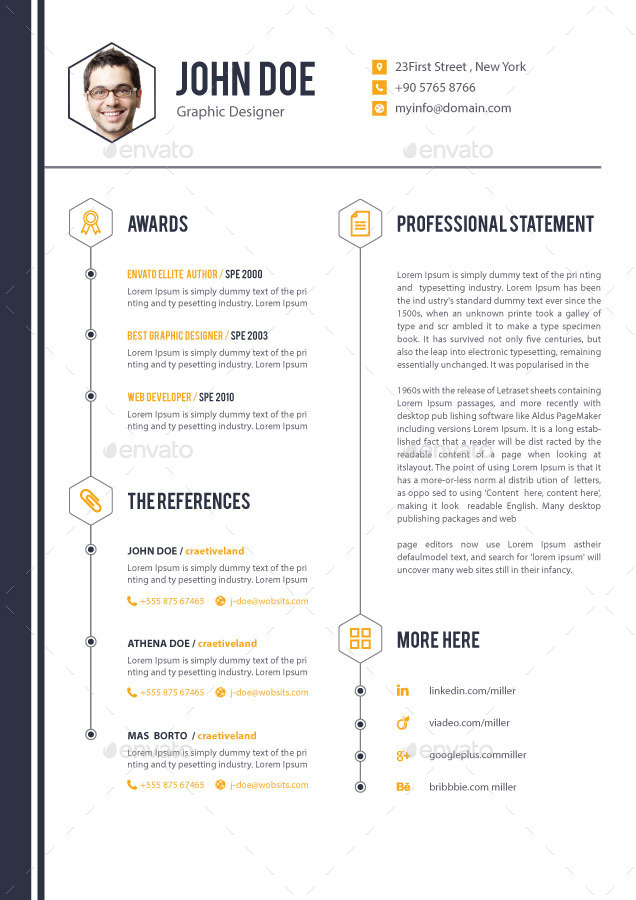 4 pages job resume cv by elitegraphic graphicriver
