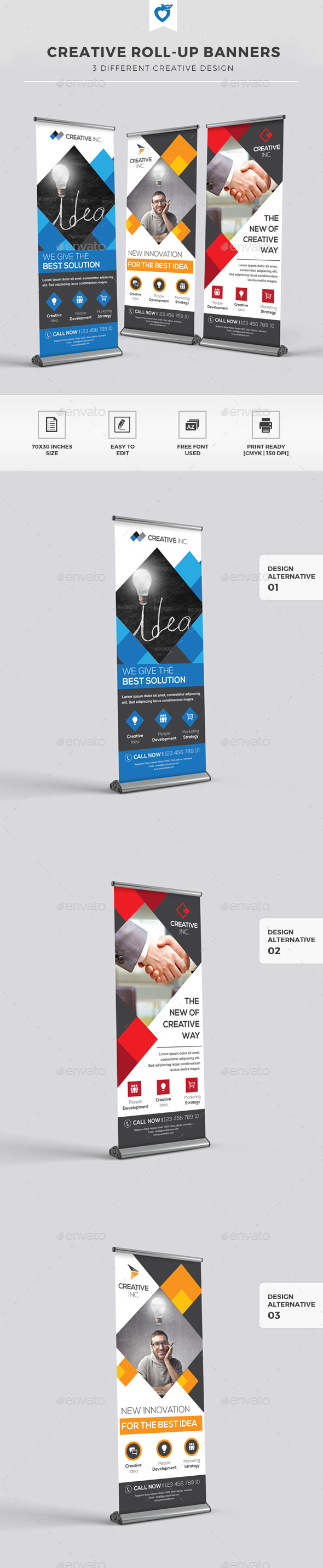Creative Roll-up Banners - Signage Print Templates