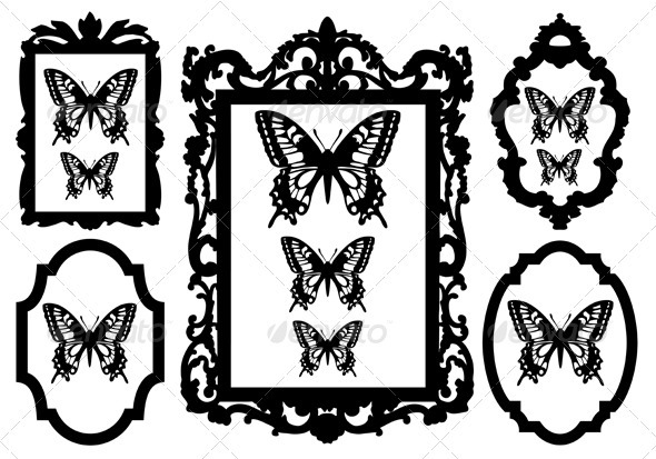 Butterflies In Picture Frames - Objects Vectors