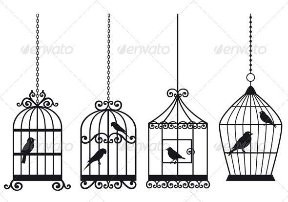 Birdcages With Birds - Objects Vectors