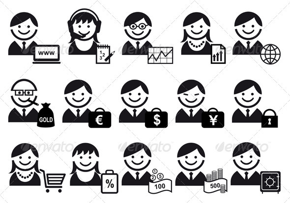 Business People Vector Icon Set - People Characters