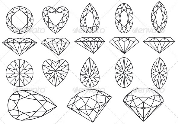 Vector Diamond Set - Man-made Objects Objects