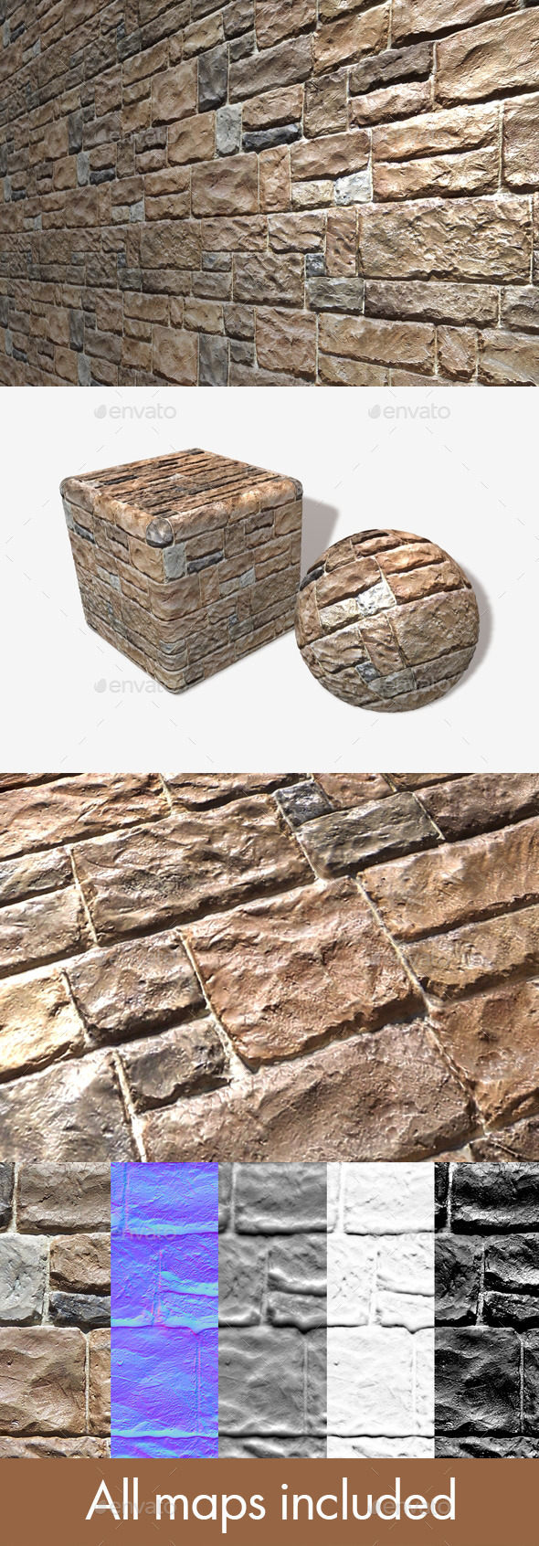Shiny Rough Bricks Seamless Texture - 3DOcean Item for Sale