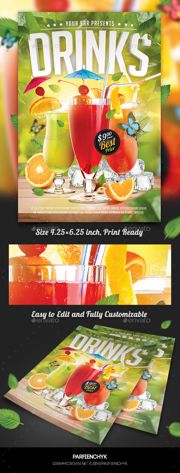 Drinks Flyer Template - Clubs & Parties Events