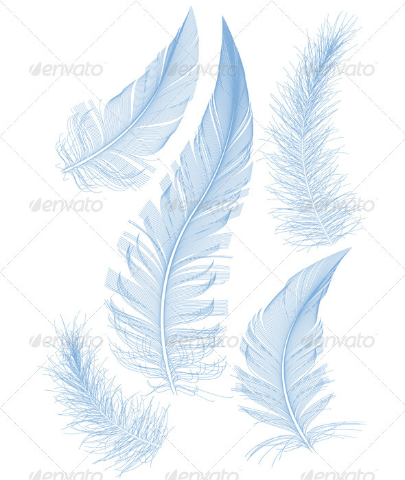 Blue Vector Feather - Miscellaneous Vectors