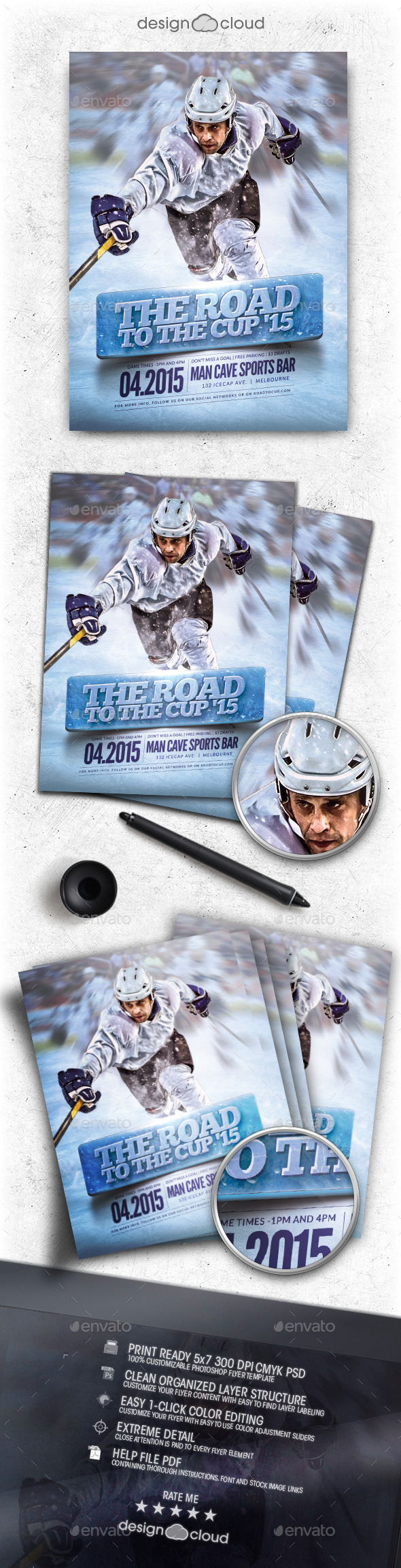 Hockey Road to the Cup '15 Flyer Template - Sports Events