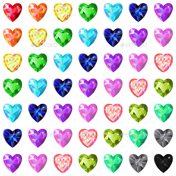 Colored Heart Cut Gems - Decorative Symbols Decorative