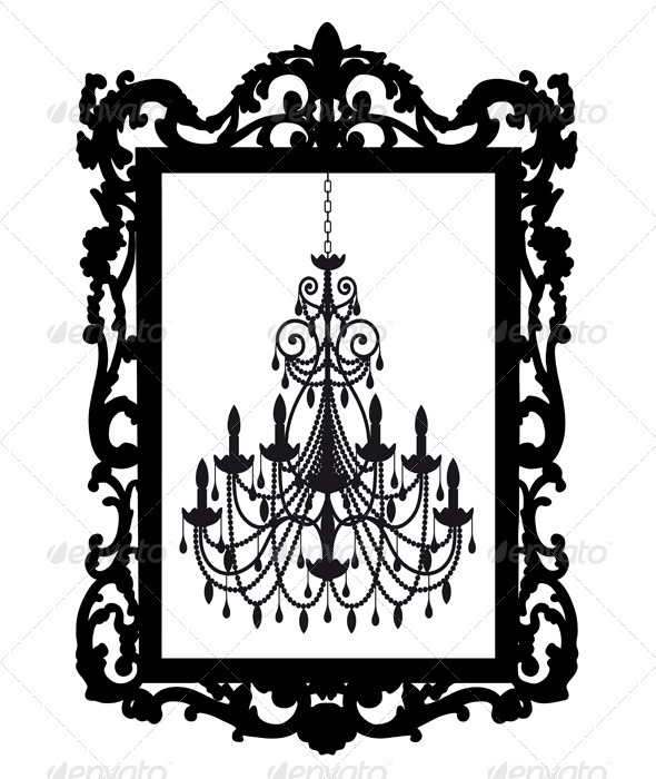 Picture Frame With Chandelier - Objects Vectors