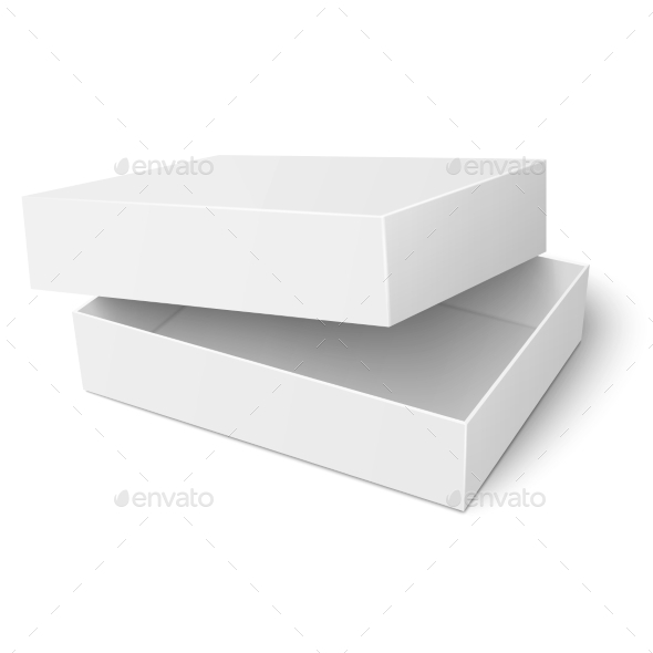 template of white cardboard box with opened lid by derzai
