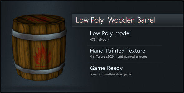 Low Poly Wooden Barrel Closed - 3DOcean Item for Sale
