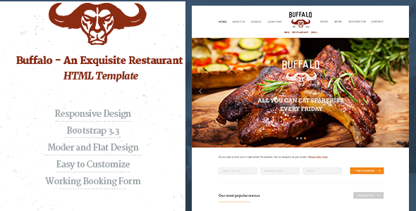 Buffalo - An Exquisite Restaurant HTML Template - Restaurants & Cafes Entertainment