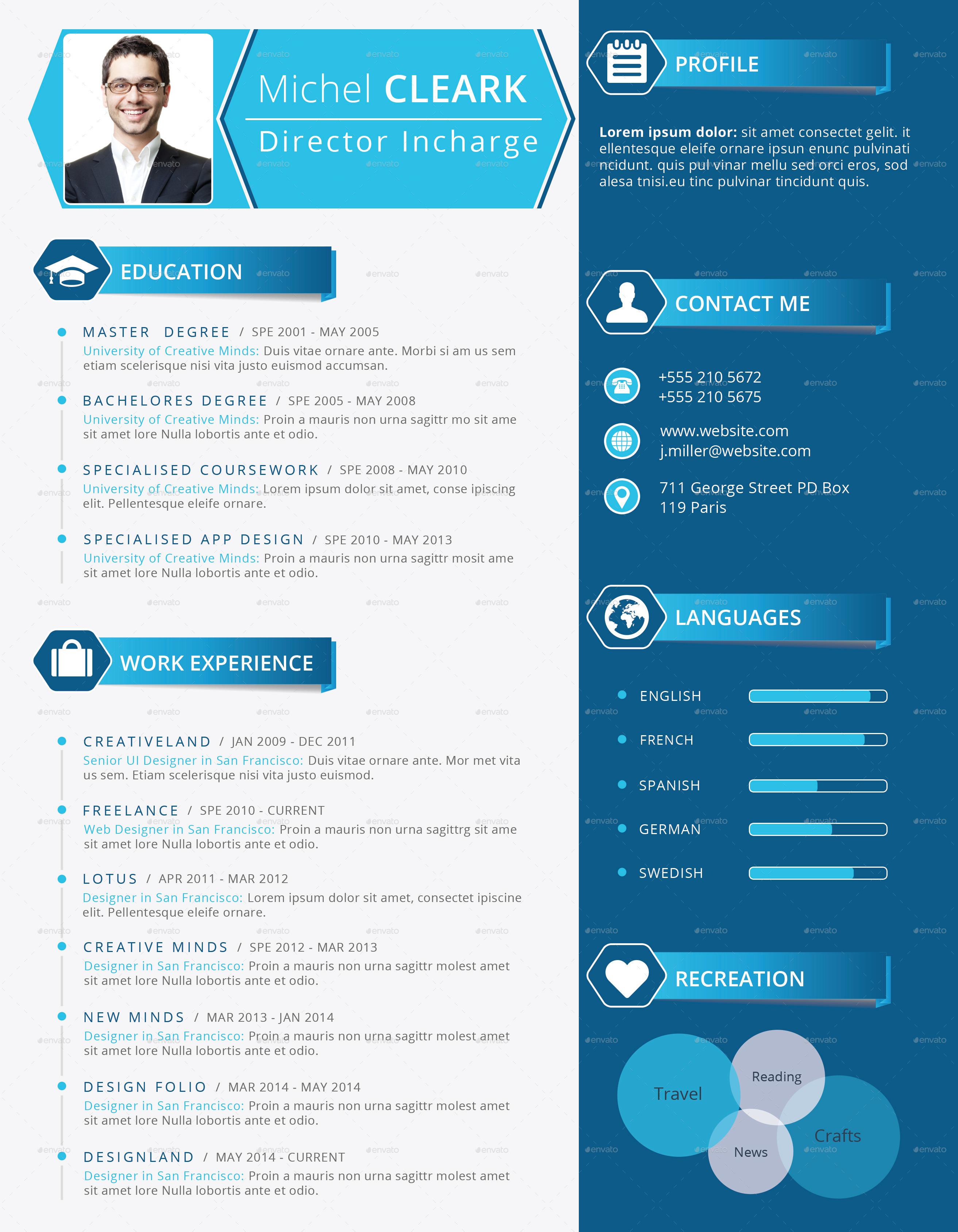 corporate resume  cv by themexriver